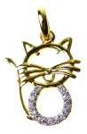 Gold-plated pendant with zircons-kitten