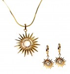 Set necklace + earrings with zircons- suns