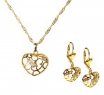 Set necklace + earrings with zircons- hearts