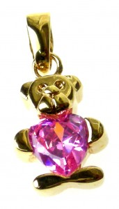 Teddy bear pendant with pink zircon-plated