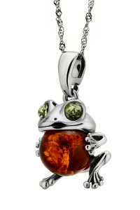 Silver pendant with amber- frog