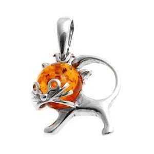 Silver pendant with amber- cat