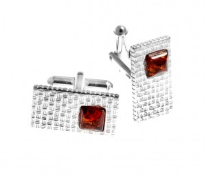 Cufflinks silver with amber