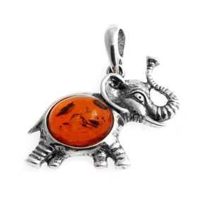 Silver pendant with amber- elephant