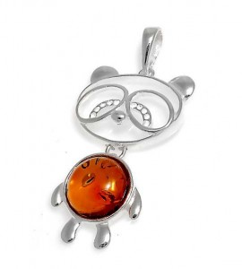 Silver pendant with amber- panda