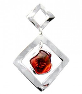 Silver pendent with amber