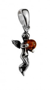 Silver pendant with amber- angel