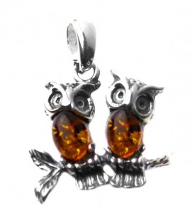 Silver pendant with amber- two owls