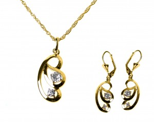 Set necklace + earrings with zircons