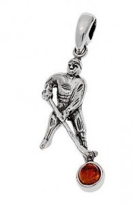 Silver pendant with amber- hokey player