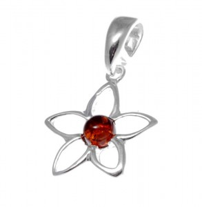 Silver pendant with amber- flower