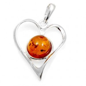 Silver heart with amber