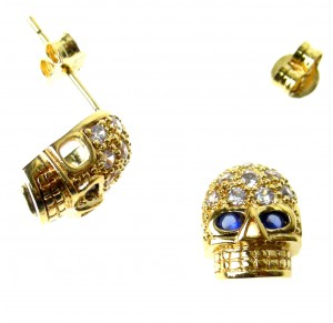 Skull earrings plated with zircons