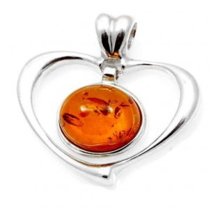 Silver pendant with amber- heart